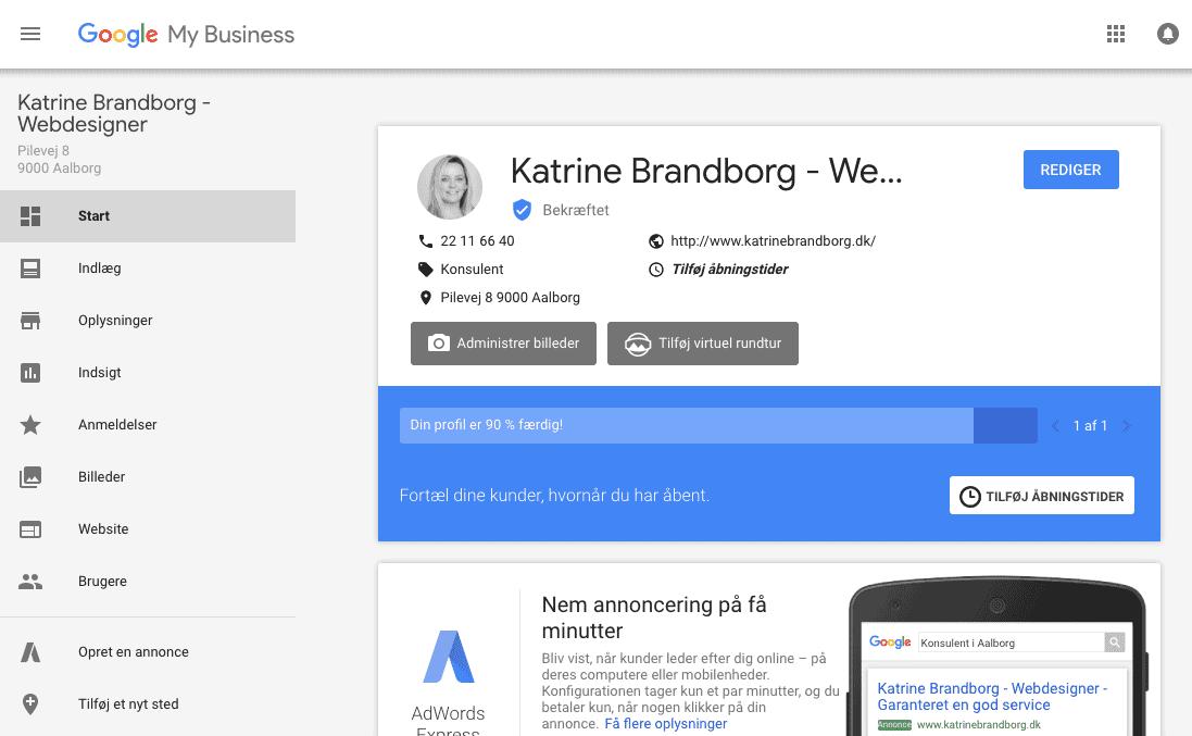 webdesigner, Google My Business, KatrineBrandborg.dk